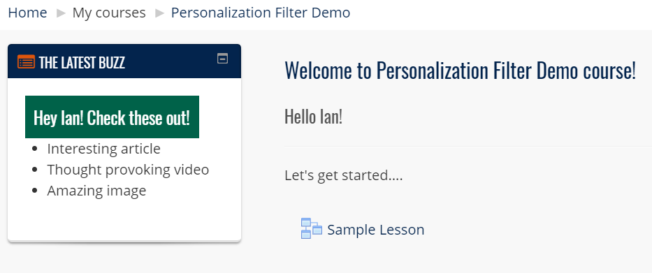 personalization filter