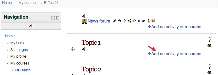 Add an activity or resource link