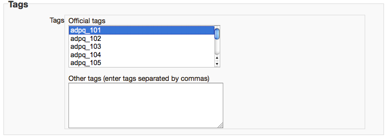 Tags section of a question